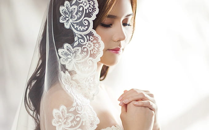 a bride gets ready